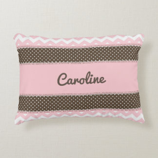 Personalized Baby Pillow - Pink and Brown