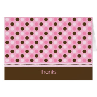 Personalized Baby Polka Dot Thank You Card (pink)