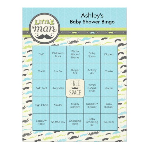 Personalized Baby Shower Bingo Game - Little Man Full Color Flyer