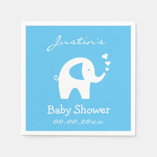 Personalized baby shower napkins with elephant disposable serviettes