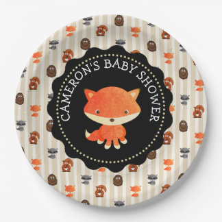 Personalized Baby Shower Plates Woodland Themed