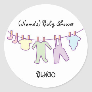 Personalized Baby Shower Sticker-Clothesline