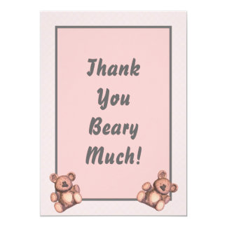 Personalized Baby shower thank you card pink bears 13 Cm X 18 Cm Invitation Card