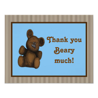 Personalized Baby shower thank you card Teddy Bear 11 Cm X 14 Cm Invitation Card