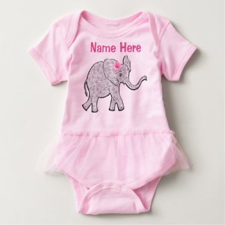 Personalized Baby Tutu Elephant One Piece Bodysuit