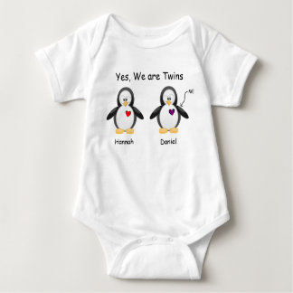 Personalized Baby Yes, We Are Twins Penguin Baby Bodysuit