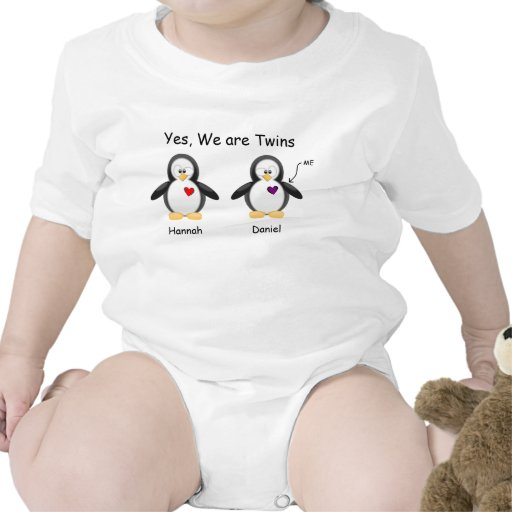 Personalized Baby Yes, We Are Twins Penguin Tee Shirts
