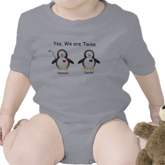 Personalized Baby Yes We Are Twins Penguin Tshirts