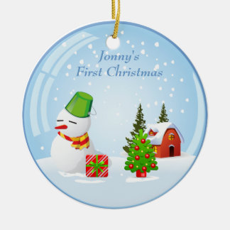 Personalized Baby's First Christmas Cute Snowball Round Ceramic Decoration