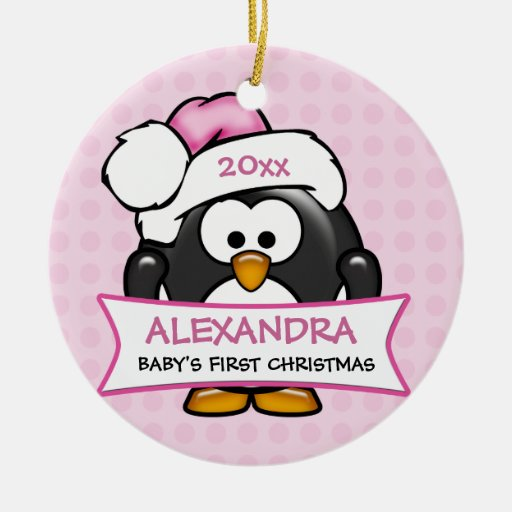 Personalized Baby's First Christmas Penguin Ornaments