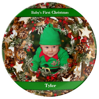 Personalized Baby's First Christmas Photo Plate Porcelain Plates