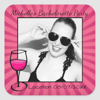 Personalized Bachelorette Frame Square Sticker