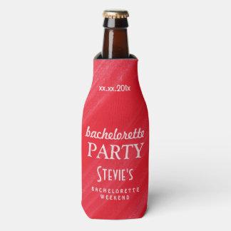 Personalized Bachelorette Party Alizarin Crimson Bottle Cooler