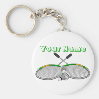 Personalized Badminton Player Crossed Racquets Key Ring