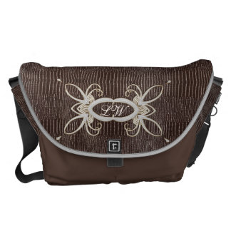 Personalized Bag - White & Gold on Brown Leather 1 Courier Bag