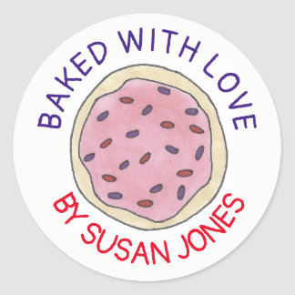 Personalized Baked By With Love Pink Sugar Cookie Classic Round Sticker