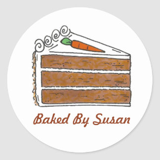 Personalized Baking Baked By Carrot Cake Slice Classic Round Sticker
