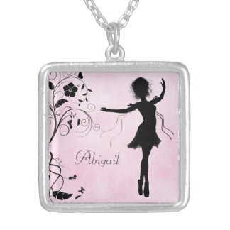 Personalized Ballerina and Flowers Necklace