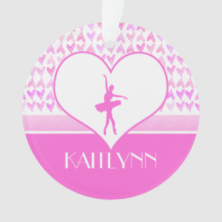 Personalized Ballet Dancer Pink Watercolor Hearts