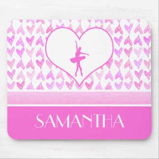 Personalized Ballet Dancer Pink Watercolor Hearts Mouse Pad