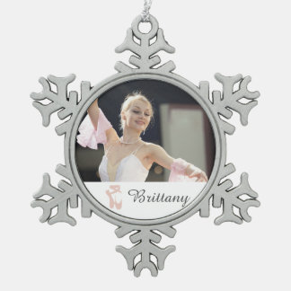 Personalized Ballet Photo Ballerina Name Slippers Snowflake Pewter Christmas Ornament