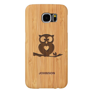 Personalized Bamboo Engraved Look Cute Owl in Tree Samsung Galaxy S6 Cases