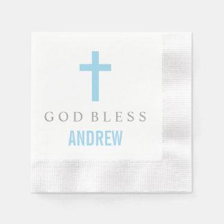 Personalized Baptism Napkin | Blue Cross Disposable Serviettes
