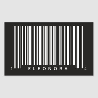 personalized barcode striped design rectangular sticker