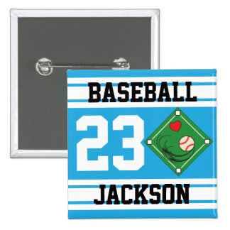Personalized Baseball Baby Blue Design Pinback Buttons