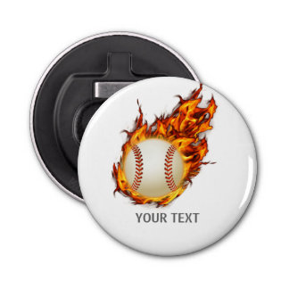 Personalized Baseball Ball on Fire Bottle Opener