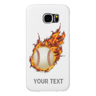 Personalized Baseball Ball on Fire Samsung Galaxy S6 Cases