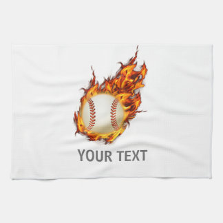 Personalized Baseball Ball on Fire towel
