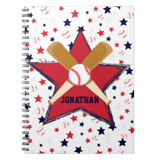 Personalized Baseball bats ball and stars Notebooks