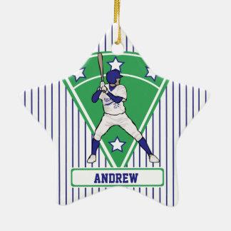 Personalized Baseball Batter Star Blue Christmas Ornament