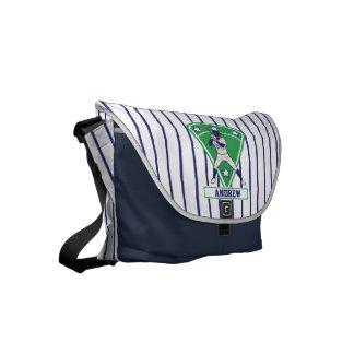 Personalized Baseball Batter Star Blue Messenger Bag