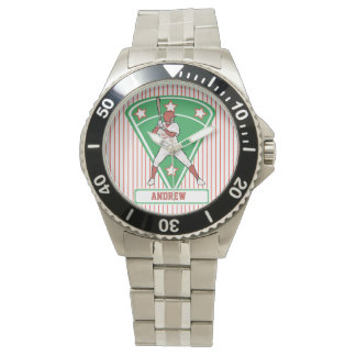 Personalized Baseball Batter Star Red Watch