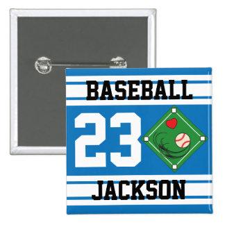 Personalized Baseball Blue Design Pin