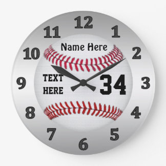Personalized Baseball Clocks with NAME and NUMBER