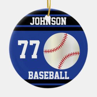 Personalized Baseball | Dark Blue and Black Round Ceramic Decoration