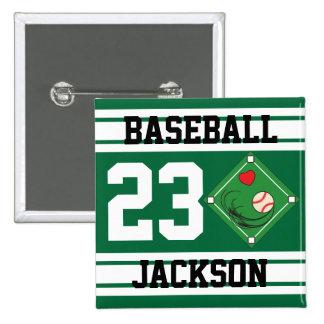 Personalized Baseball Dark Green Design Pins