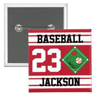 Personalized Baseball Dark Red Design Pinback Button