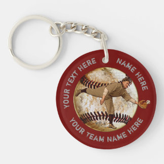 Personalized Baseball Gifts for Players, Coaches Double-Sided Round Acrylic Key Ring