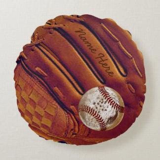 Personalized Baseball Glove Pillow, Dirty Baseball Round Cushion