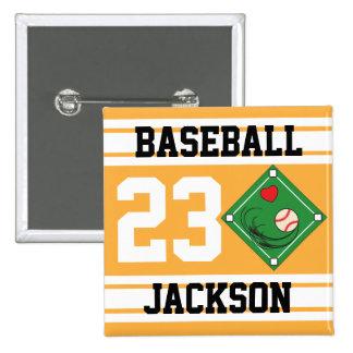 Personalized Baseball Gold Design Pinback Button