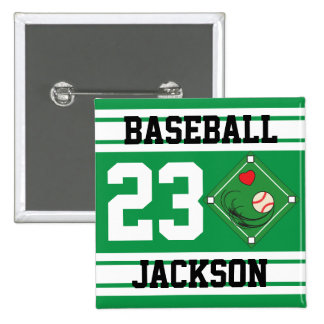 Personalized Baseball Green Design Pins
