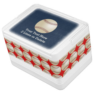 Personalized Baseball Igloo Cooler, Blue and Red Igloo Cooler