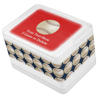 Personalized Baseball Igloo Cooler, Red and Blue Igloo Cooler