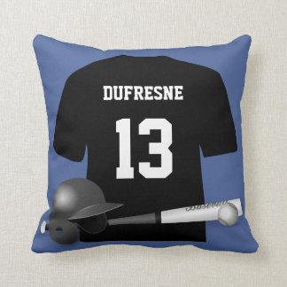 Personalized Baseball Jersey Blue Reversible Cushion