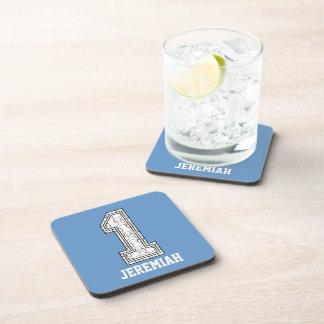 Personalized Baseball Number 1 Beverage Coaster