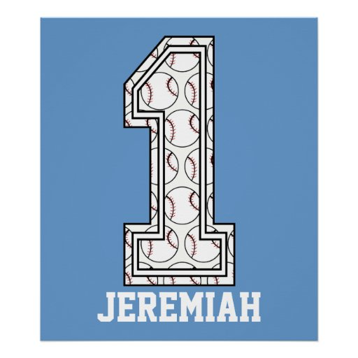 Personalized Baseball Number 1 Poster